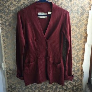 Sparrow Anthro Red Cardigan - Size XS Small Pocket